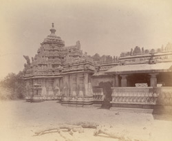 View of the shrine and shikara, with part of the mandapa in the foreground, Kaitabheshvara Temple, Annavatti